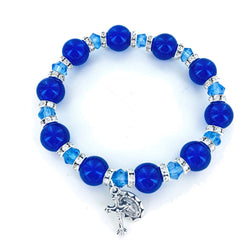 Blue Glass Beaded Bracelet - WOSR4027BL