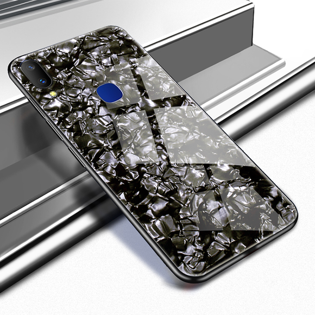 Galaxy M20 Luxury Marble Glitter Glass Hard Back Case