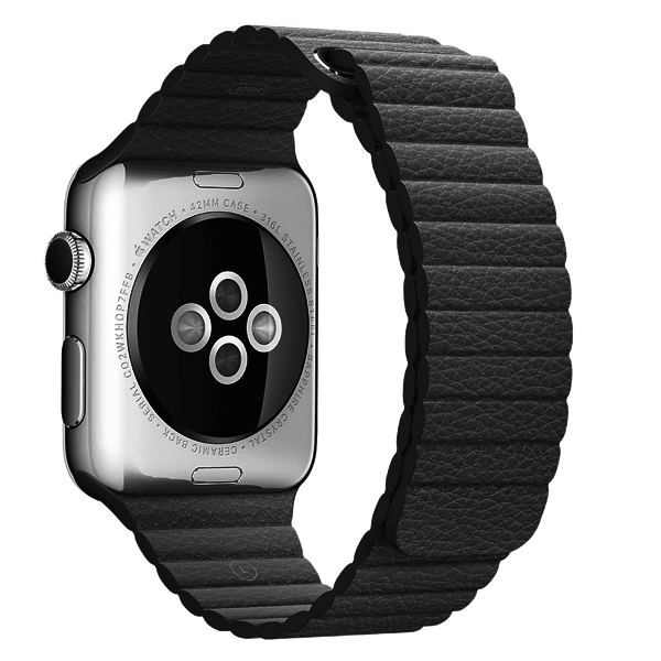Light Black Leather Loop Band For Apple Watch 42mm (Watch Not Included)