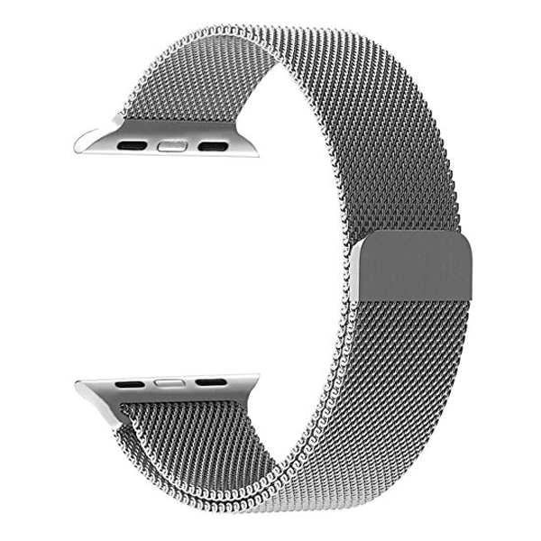Milanese Silver loop strap For Apple Wrist Watch Band Strap 42mm (Watch Not Included)
