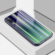 Galaxy A70 Tempered Glass Gradient Rainbow Laser Effect AURORA Case