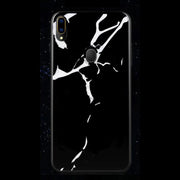 Galaxy M20 Luxury Pure New Marble Glitter Ultra Protection Silicone Glass Case (Black & White)
