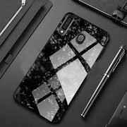 Vivo Y17/Y15 Marble Glitter Silicone Frame Tempered Glass Case
