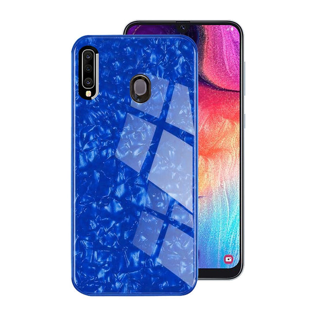 Galaxy M30 Marble Glitter Silicone Frame Shell Tempered Glass Case