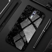OPPO Reno Marble Glitter Silicone Frame Tempered Glass Case