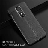 Oneplus 6 Brushed Autofocus Leather Texture TPU Back Case