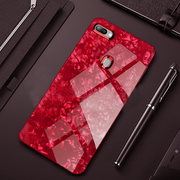 Oppo A7 Luxury Marble Glitter Glass Back Case