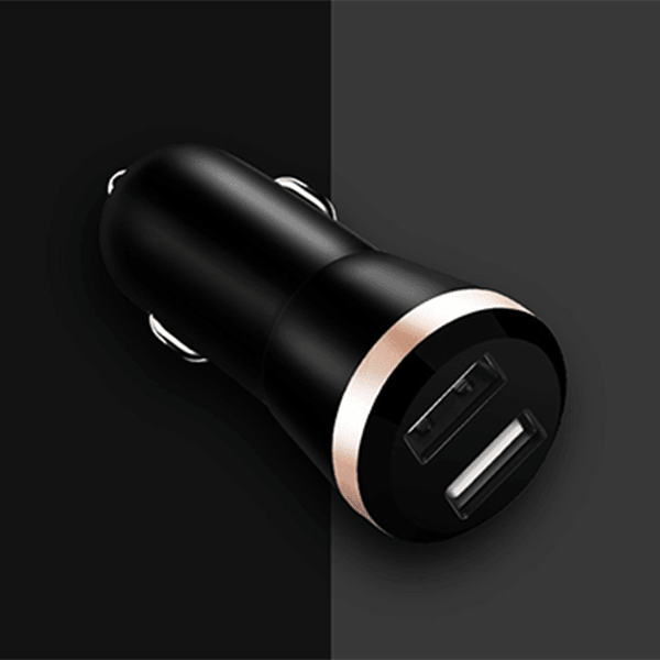 USAMS Round Dual 2 USB Quick Car Charging Safe Smart Car Charger (2.4A)
