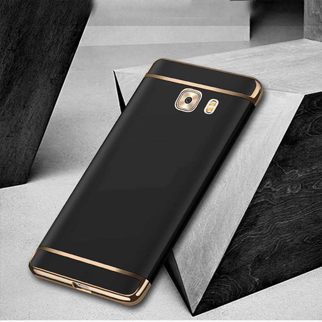 Galaxy C9 Pro Luxurious Ultra-thin 3in1 Electroplate Metal Texture Plastic Hard Back Case