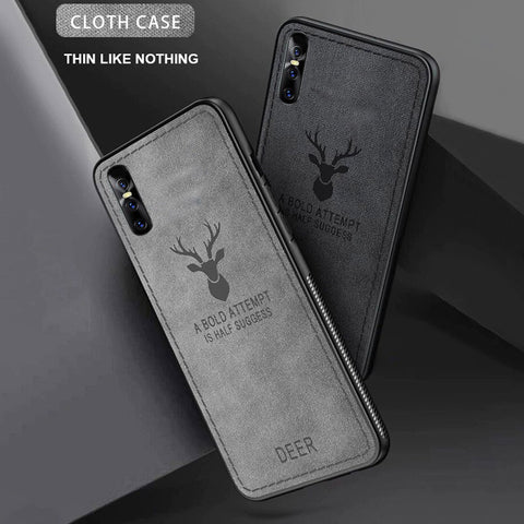 Vivo V15 Pro Cloth Deer Canvas Texture Fabric Leather Case