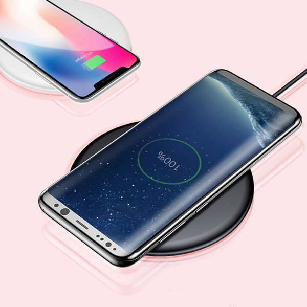 Baseus  Qi Wireless Charger Pad For iPhone X 8 Samsung Galaxy Note 8 S8 S7 Edge Mobile Phone Desktop Fast Wireless Charging (Black) 2018
