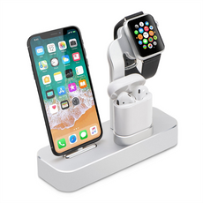 COTEetCI 3 in 1 Aluminum , Charger Dock Holder for Apple iPhone X / 8 / 8 Plus / 7 / 7 Plus, Apple Watch Series 1/2/3, AirPods-Slivery (Watch Not Included)