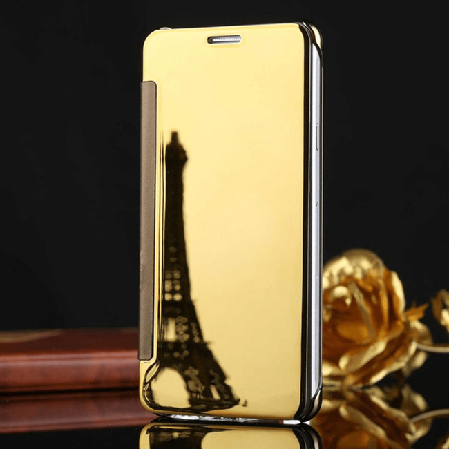 Oppo A7 Ultra Protection Mirror Effect Clear View Stand Flip Case