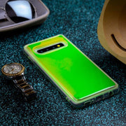 Oplore Silicone Glow Radium Galaxy S10 Plus Neon Sand Liquid Case - Green & Yellow