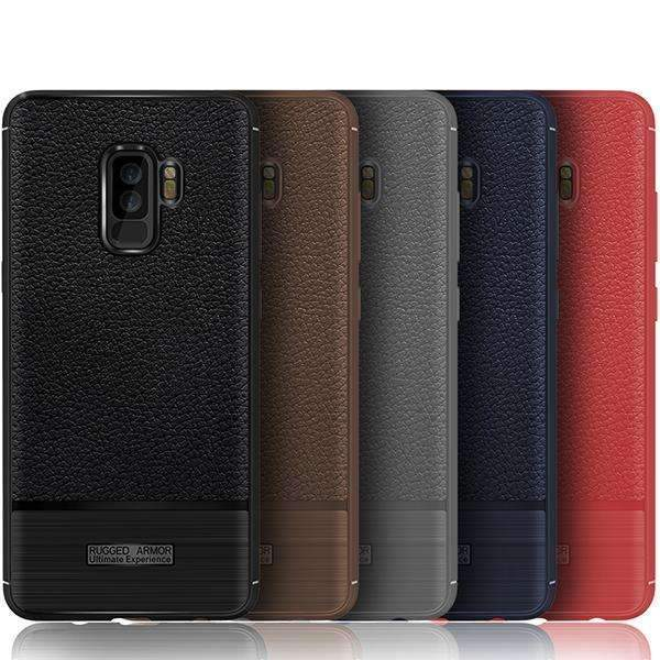 Galaxy S9 Plus Rugged Armor Soft Silicone Leather Litchi Carbon Case