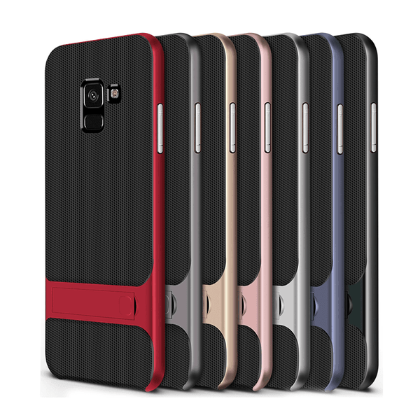 Galaxy A6 Plus Armor Silicon Bracket Dual Hybrid With kickStand Case