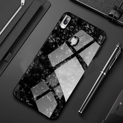 Redmi Note 7/7 Pro Marble Glitter Silicone Frame Tempered Glass Case