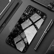 Galaxy A7 2018 Marble Glitter Silicone Frame Shell Glass Back Case
