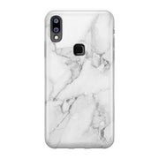 Galaxy M20 Luxury Pure Marble Glitter Ultra Protection Silicone Glass Case (White)