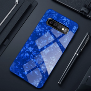 Galaxy S10 Plus Marble Glitter Silicone Frame Tempered Glass Case
