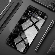 Galaxy S10 Marble Glitter Silicone Frame Shell Glass Back Case