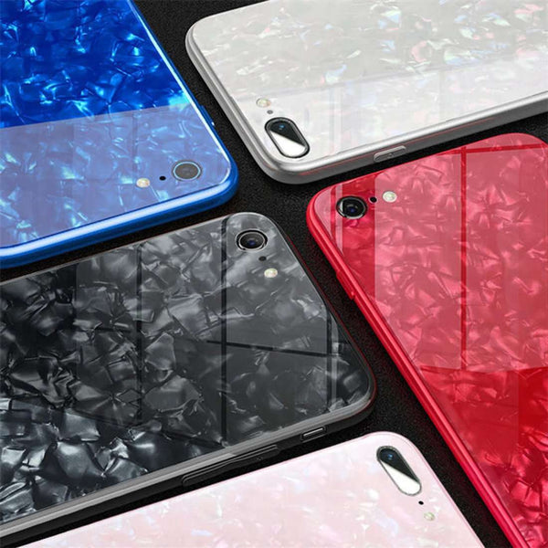 iPhone 8 Plus Marble Glitter Silicone Frame Shell Tempered Glass Back Case