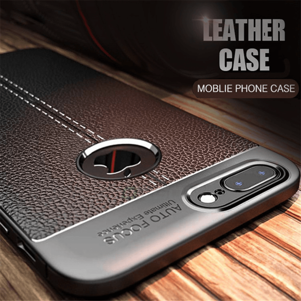 iPhone 8 Plus Autofocus Luxury Anti-knock soft TPU Leather Fiber Soft Silicone Leather Case