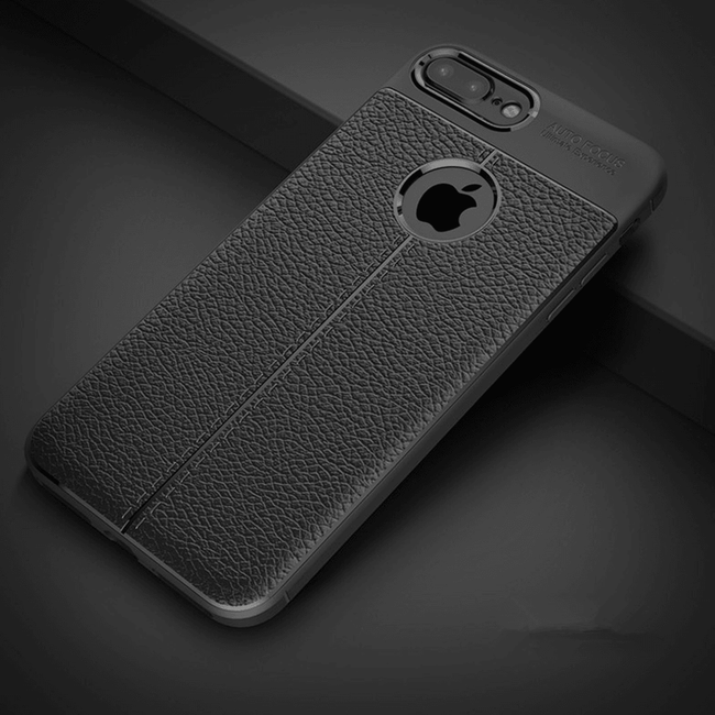iPhone 7 Plus Autofocus Luxury Anti-knock soft TPU Leather Fiber Soft Silicone Leather Case