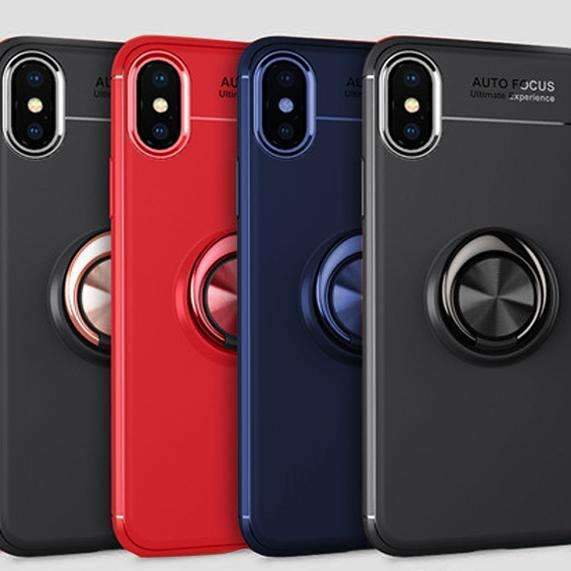 iPhone XS Max Finger Ring Magnetic Car Holder Soft Silicone Back Case