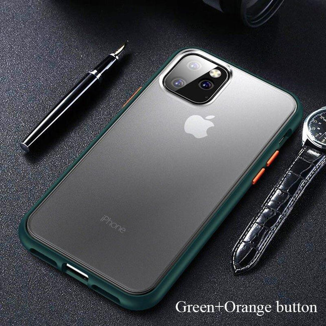 iPhone 11 Pro Max Luxury Shockproof Semi Transparent Matte Finish Case (Green)