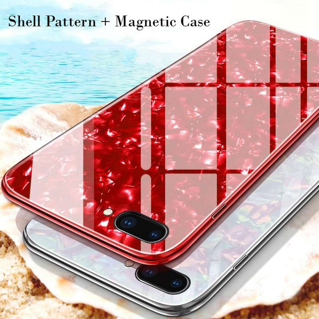 iPhone 7 Plus Marble Glitter Silicone Frame Shell Tempered Glass Back Case