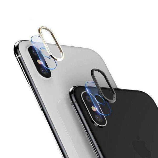 TOTU DESIGN iPhone X/XS Camera Lens Screen Protector Transparent Tempered Glass+Metal Rear Lens Protective Ring