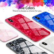 iPhone X/XS Marble Glitter Silicone Frame Tempered Glass Back Case