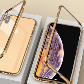 iPhone X/XS Electronic Magnetic Aluminium Ultra-Thin Series Back Case (Gold)