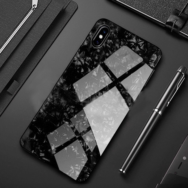 iPhone XS Max Marble Glitter Silicone Frame Shell Tempered Glass Back Case