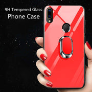 Galaxy M20 Ultra Protection Tempered Glass Ring Kickstand Protective Hard Case