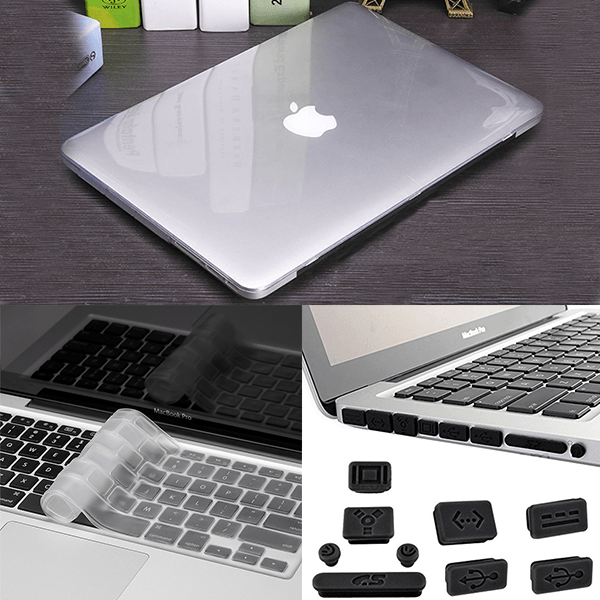 Macbook Pro 3in1 Combo Set With Glossy Transparent Laptop Case, Keyboard Protector Skin And Anti Dust Plug Set
