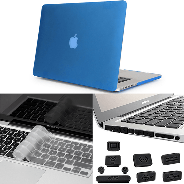 Apple Macbook Pro 3in1 Combo Set With Matte Blue Laptop Case, Keyboard Protector Skin And Anti Dust Plug Set