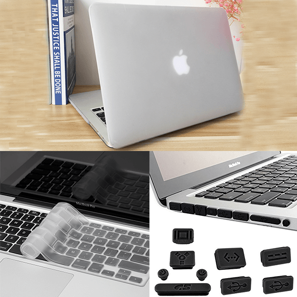 Apple Macbook Pro 3in1 Combo Set With Matte Grey Laptop Case, Keyboard Protector Skin And Anti Dust Plug Set