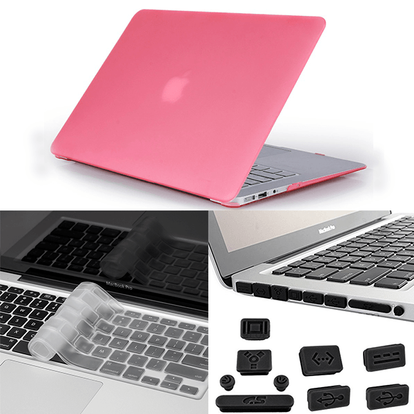Apple Macbook Pro 3in1 Combo Set With Matte Pink Laptop Case, Keyboard Protector Skin And Anti Dust Plug Set