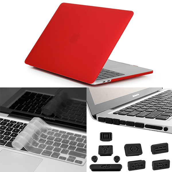 Apple Macbook Pro 3in1 Combo Set With Matte Red Laptop Case, Keyboard Protector Skin And Anti Dust Plug Set