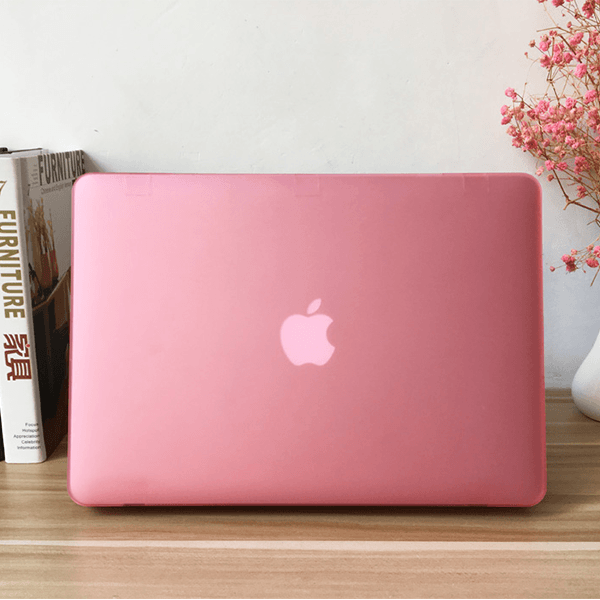 MacBook Air/Pro Pink Retina Case Clear Laptop Cover With Logo Cut (Matte Finish)