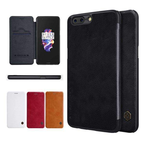 Nillkin 100% Genuine OnePlus 5 Ultra Protection Genuine Leather Flip Case With Sleep Wake Up Card Slot (Limited Stock)