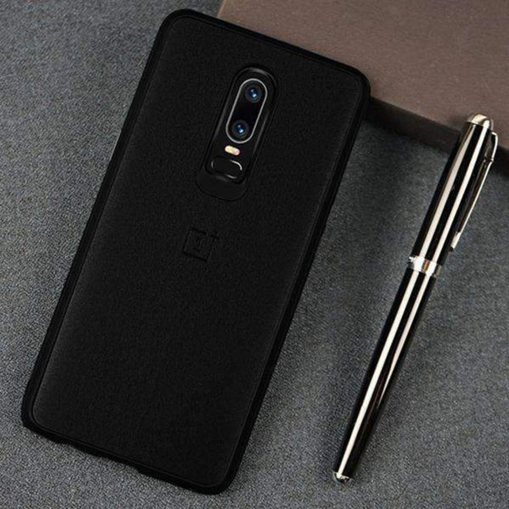 OnePlus 6 Ultra Protection Luxury PU leather + Soft TPU Super Sandstone Texture Case