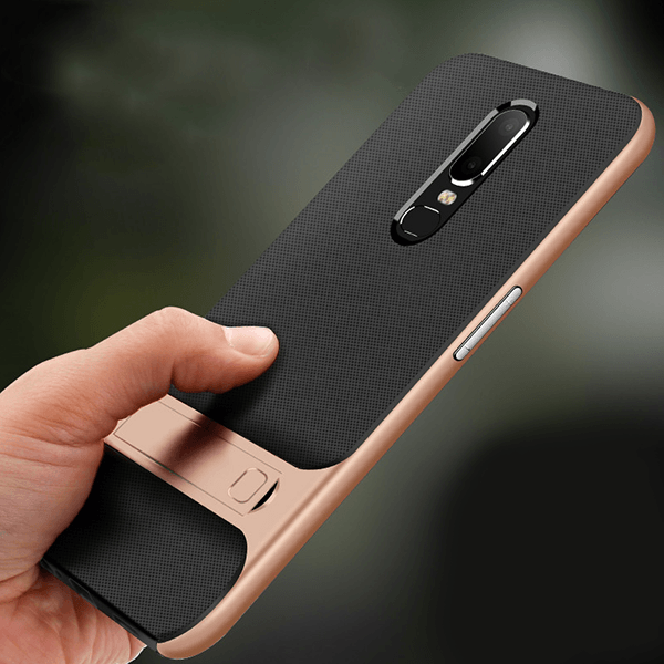 Oneplus 6 Armor Silicon Bracket With Kick Stand Back Case