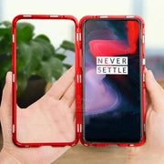 Luphie Electronic Aut-ofit Glass Back Cover OnePlus 7T Pro Magnetic Case- Red