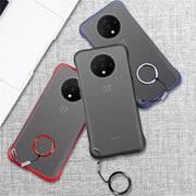 Bumper Semi Transparent Back Cover OnePlus 7T Frame less Metal Ring Case
