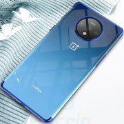 OnePlus 7T Ultra Protection Transparent Glitter Back Case (Blue)