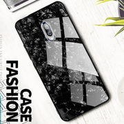 OnePlus 7 Marble Glitter Silicone Frame Shell Glass Back Case