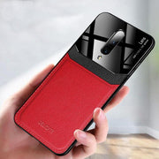 Shockproof Sandstone Back Cover OnePlus 7T Pro Leather Lens Case- Red